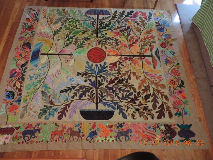 Four Trees; pattern By Kim McLean; hand applique; begun Jan. 2015. Quilting begun May, 2017
