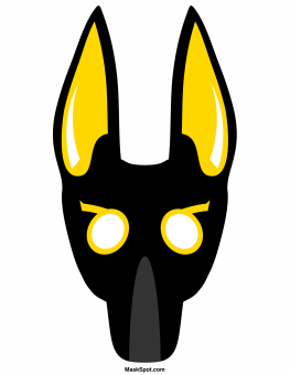 Anubis mask templates including a coloring page version of for Egyptian masks templates