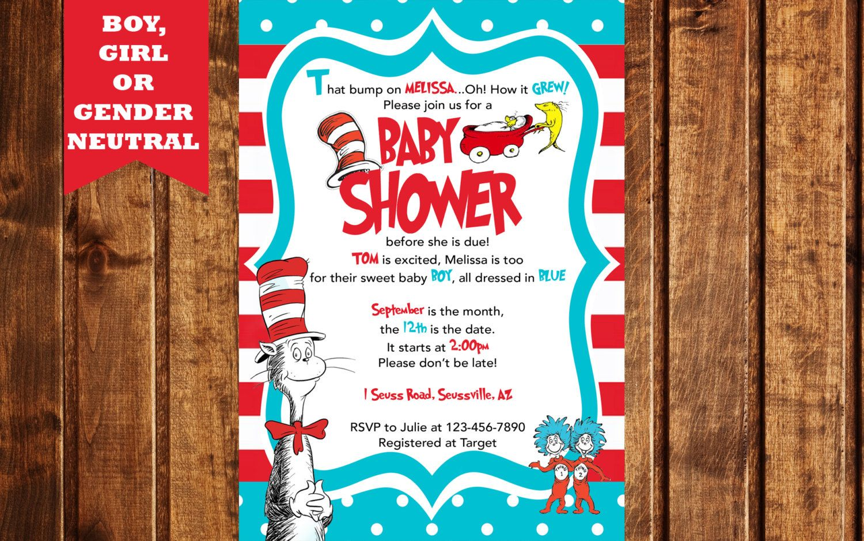 Baby Shower Invitation, Dr Seuss Baby Shower Invitation, Dr Seuss ...