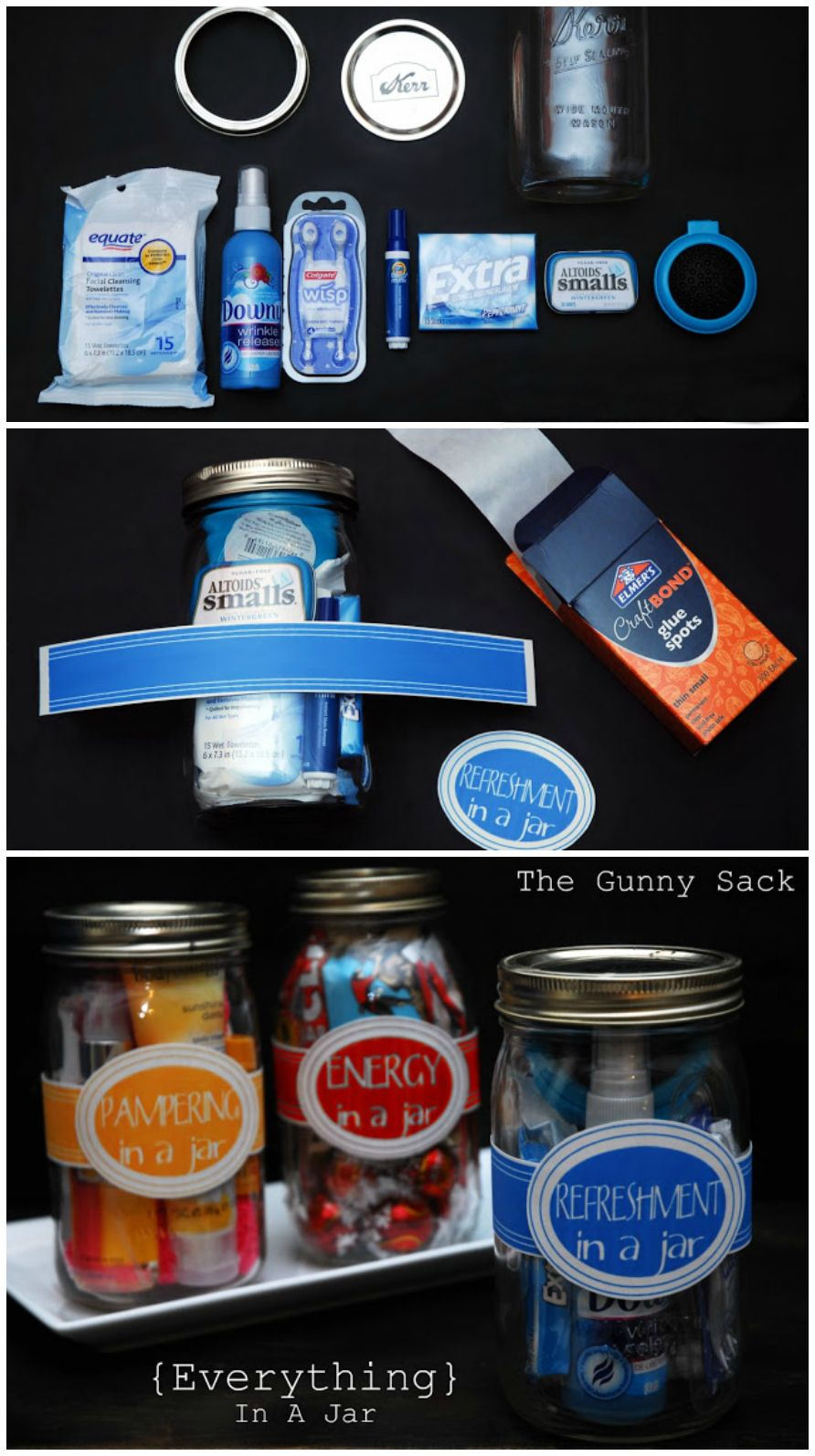 Give gifts in a jar by stuffing related items into a mason jar and