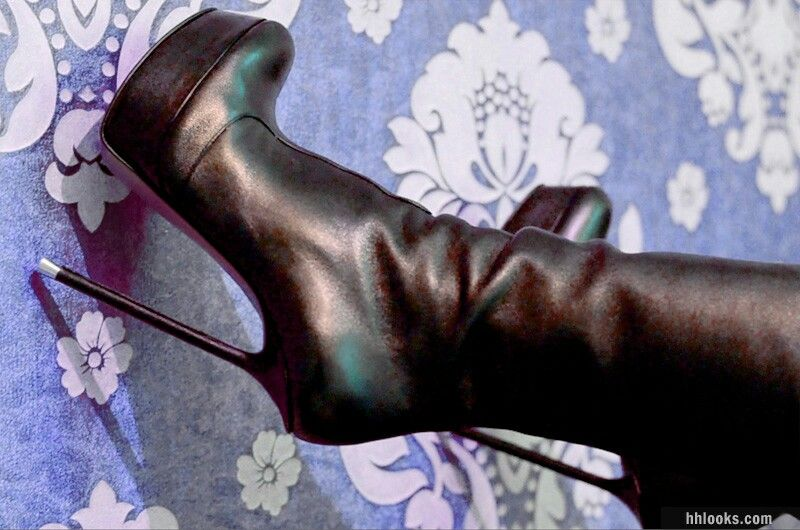 Di Marni black leather custom boots