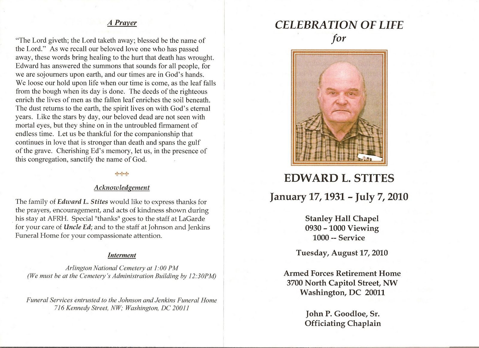 FuneralProgramOutsideJpg   Celebration Of Life For