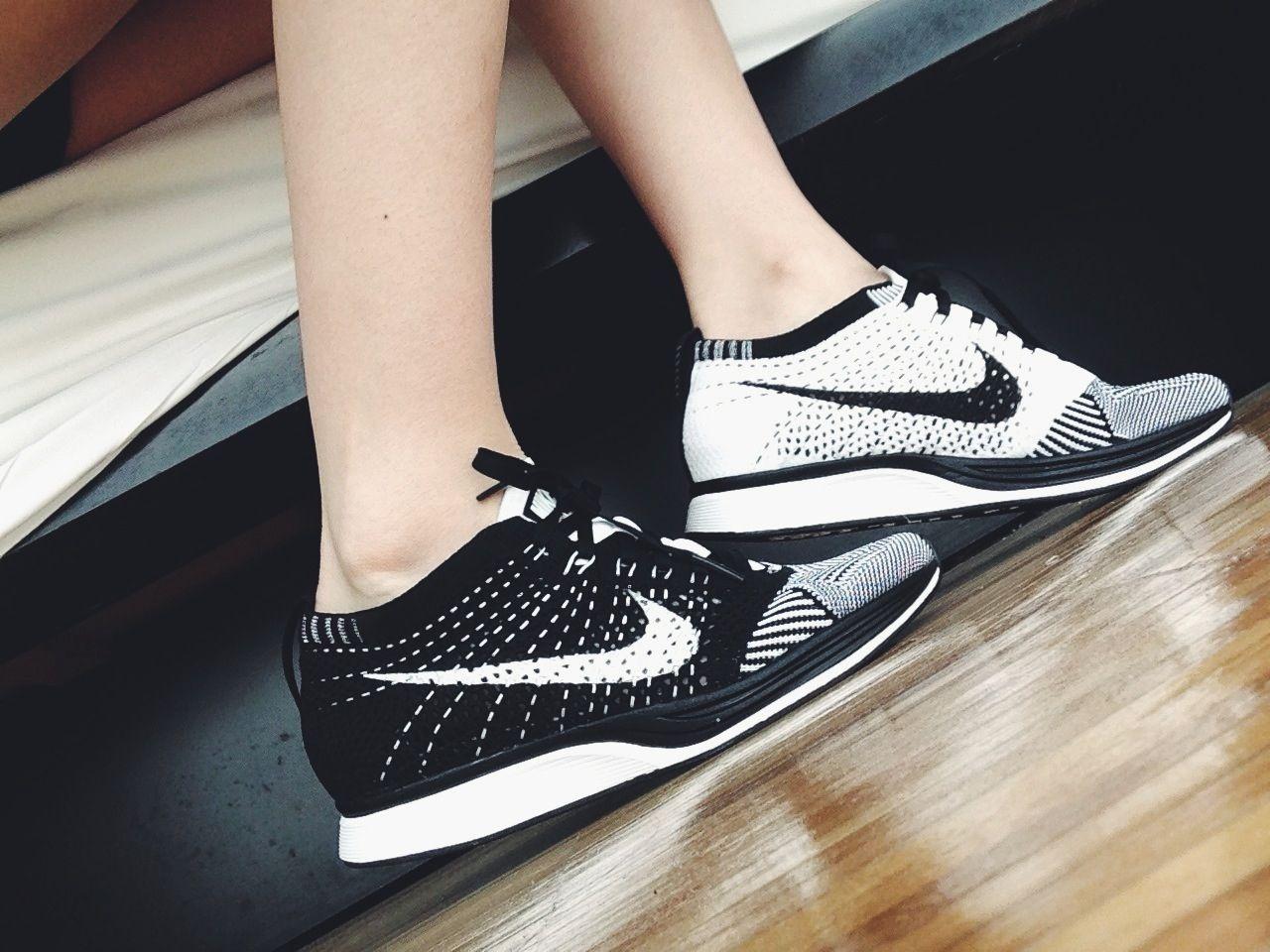 Nike Flyknit Racer Black White | Nike