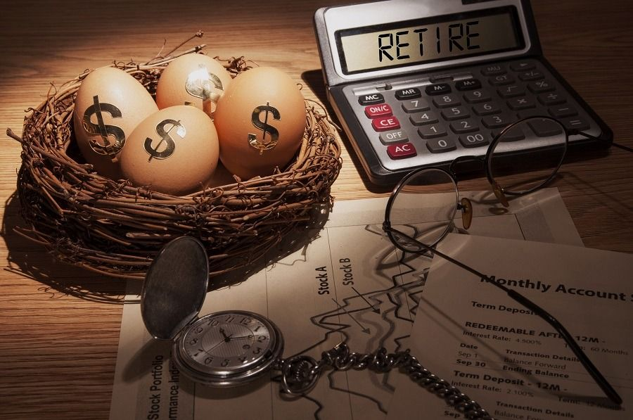 Illustration Of Retirement Planning With A Calculator And Eggs In A Nest With Dollar Signs Saving For Retirement Investing For Retirement Retirement Planning