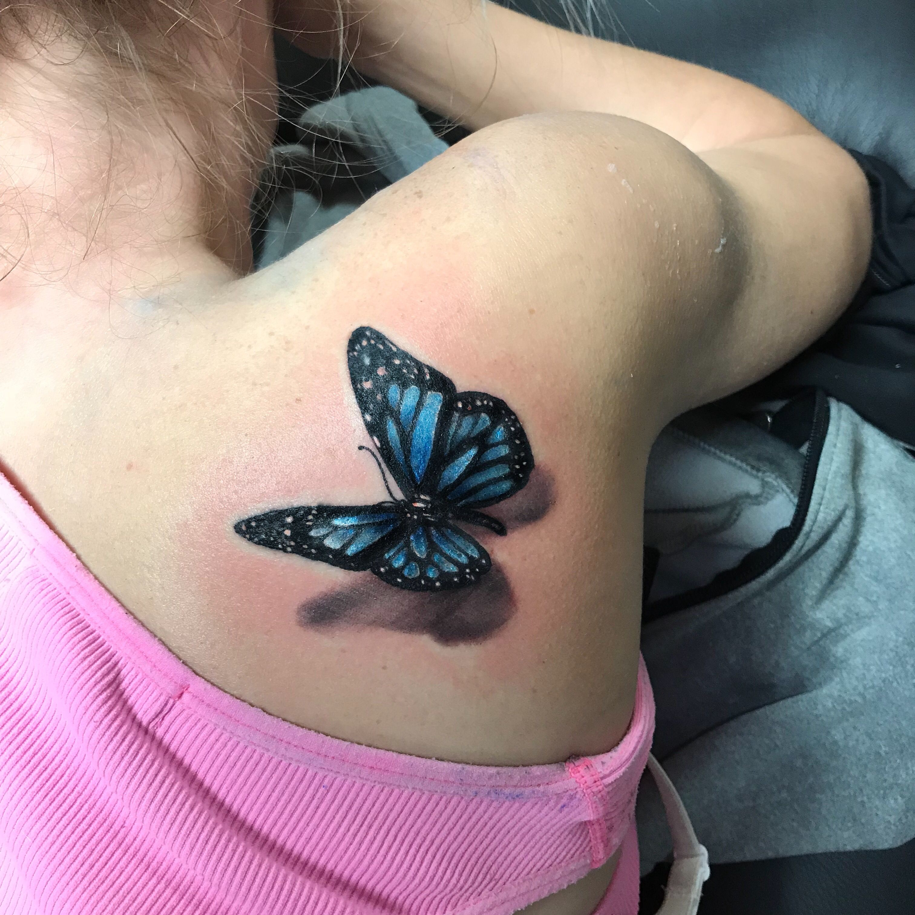 Realistic 3d Butterfly Tattoo On Girls Shoulder Done By Jordyn
