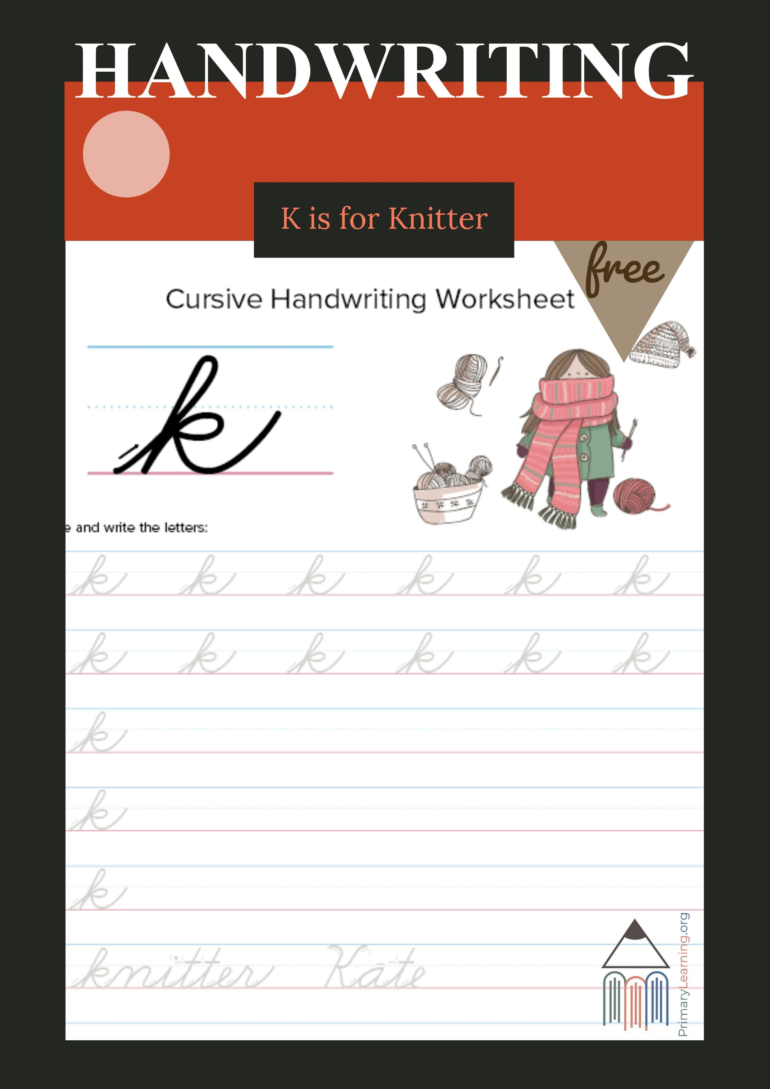 Lowercase Cursive K Worksheet