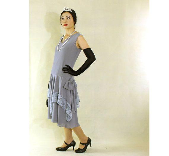 Grey Great Gatsby Dress With Handkerchief Skirt 1920s Flapper Dress Downton Abbey Dress