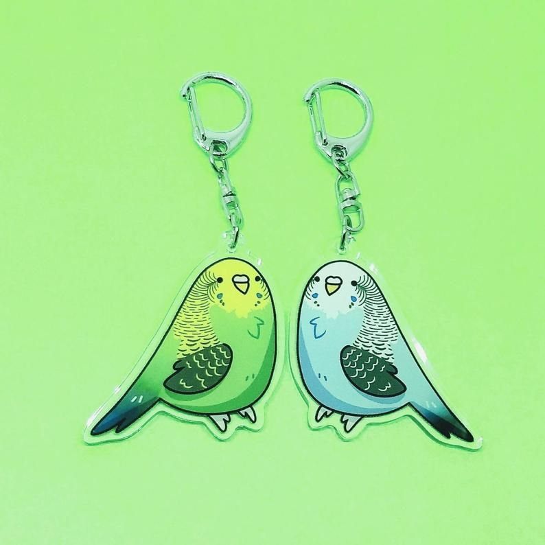 Acrylic Goldfinch Bird KeyChain Ring For Women Wallet Pendant Jewelry Gift Charm