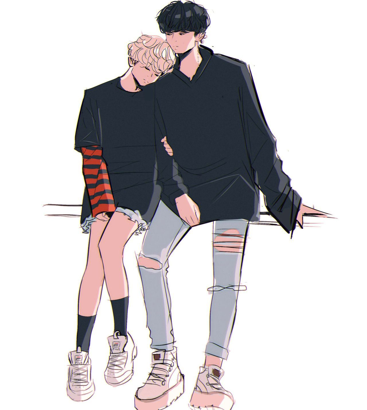 Follow mình nha? Follow me?? Anime drawings boy, Cute