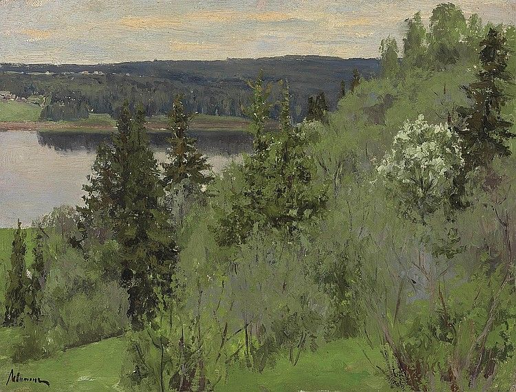 H0027-L25286113.jpg (750×570)Isaak Levitan (1860-1900)  Landscape with a lake  signed in Cyrillic 'Levitan' (lower left)  oil on canvas  8¼ x 10 7/8 in. (20.8 x 27.4 cm.)  Painted circa 1890s