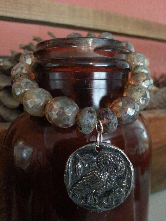 owl champagne & picasso finish czech bracelet by KHamptonDesigns, $52.00
