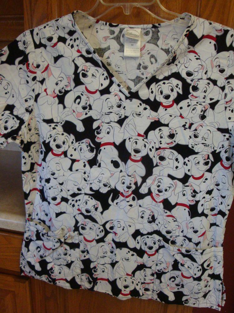 706d25e88b4 DISNEY 101 Dalmations Scrub Shirt Top MEDIUM M Scrubs Dalmation #scrubs # dalmatian #Disney