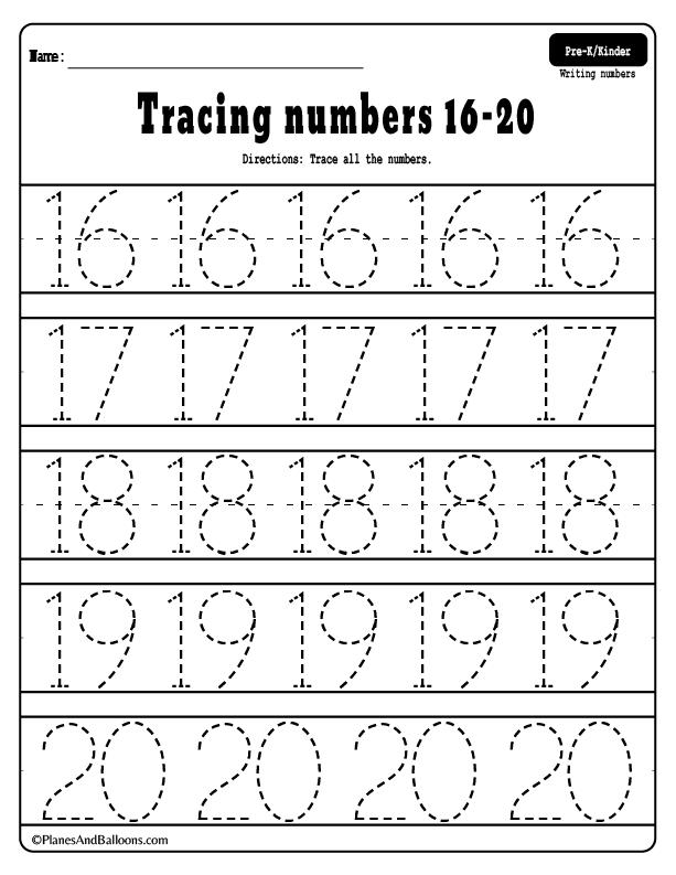 Numbers 1 20 Tracing Worksheets Preschool Number