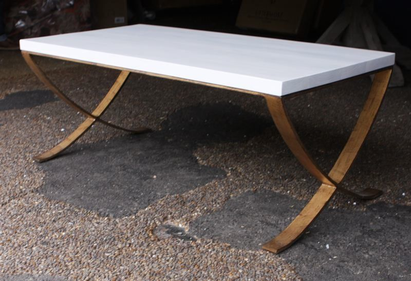 Nice Stylish Modern Metal Base Coffee Table With White Oak Wood Top.