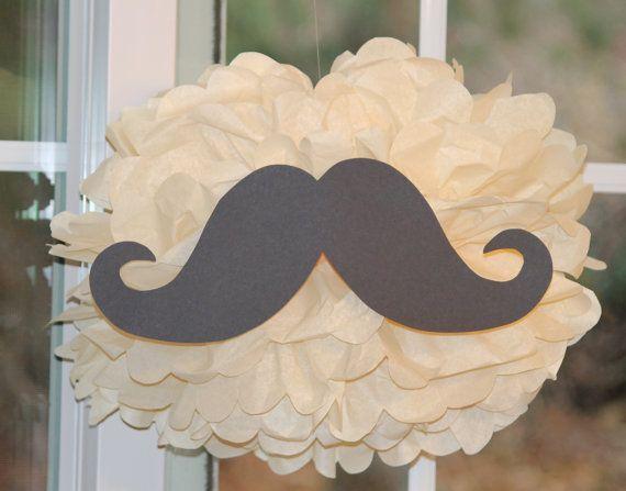 Mustache pom pom kit moustache  baby shower first birthday party decoration via Etsy