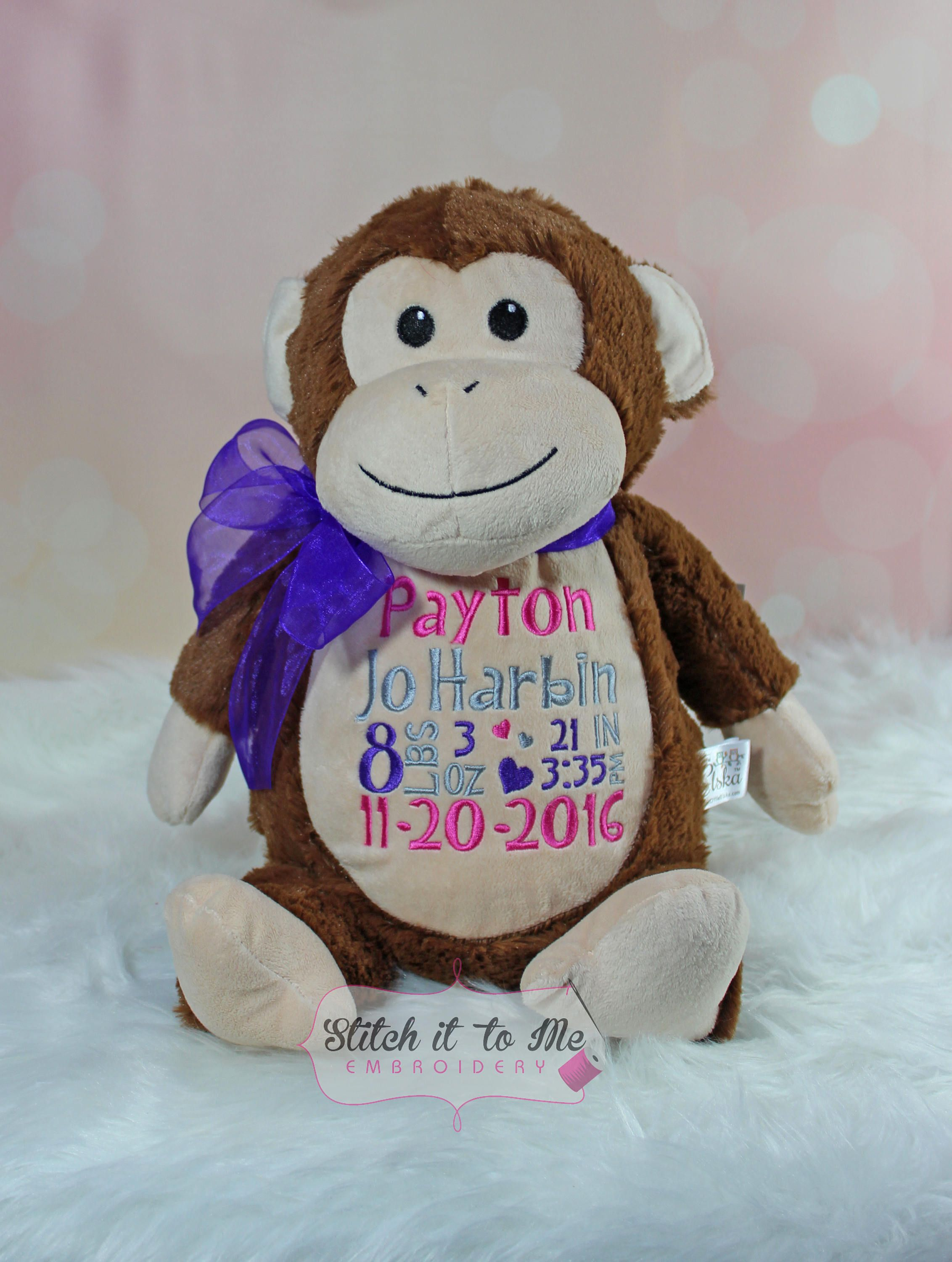Personalized Monkey, Birth Announcement, Custom Embroidered Stuffed