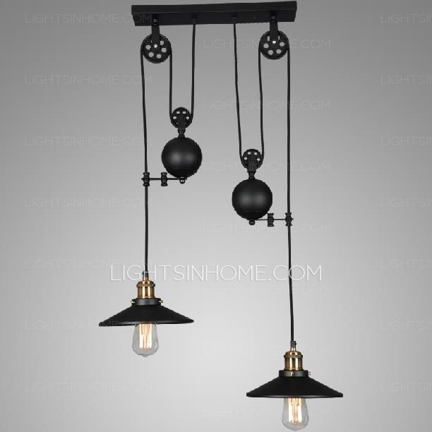 2 light designer pulley shaped industrial pendant lights home 2 light designer pulley shaped industrial pendant lights home decor pinterest pulley pendant lighting and industrial aloadofball Image collections