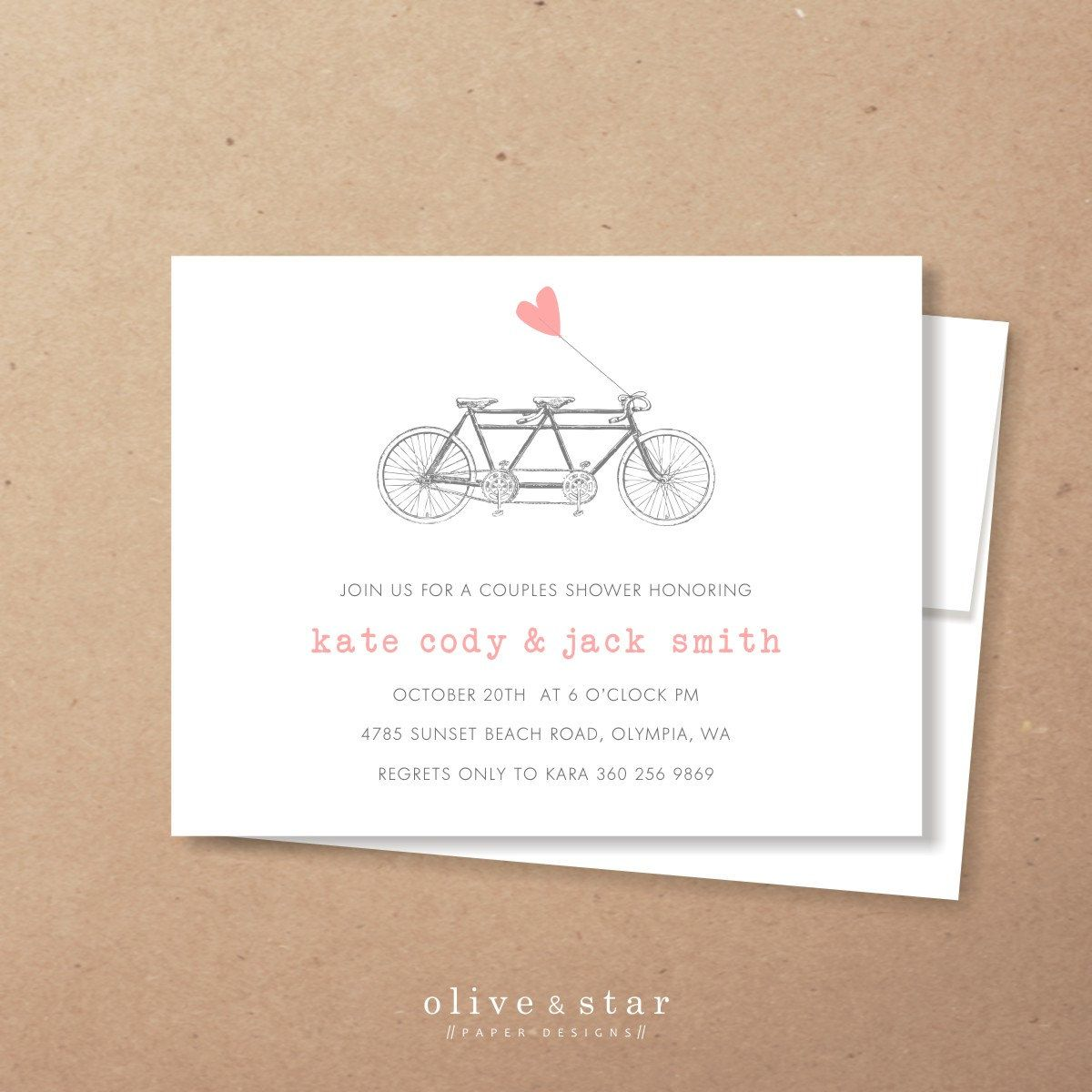 Tandem bicycle couples shower invitation set by oliveandstar tandem bicycle bridal shower invitation baby shower engagement party bike bicycle floral modern thank you note filmwisefo Choice Image