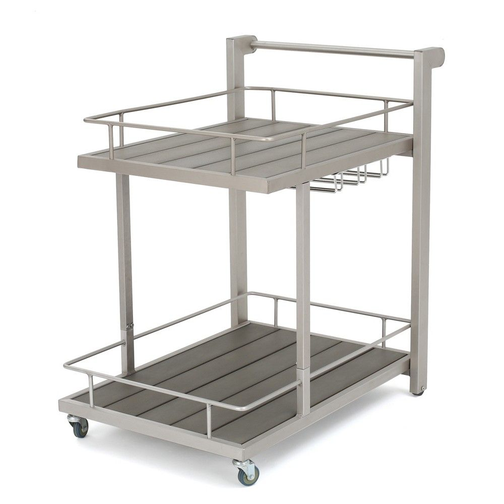 Home bar design-ideen cape coral aluminum silver bar cart  natural  christopher knight