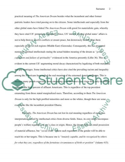 The American Dream Essay Example About Life Essays