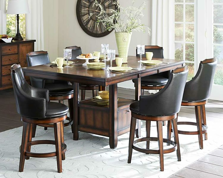 Enchanting White Carpet Under Old Fashioned Counter Height Dining Set With  Black Leather Stools And Wooden