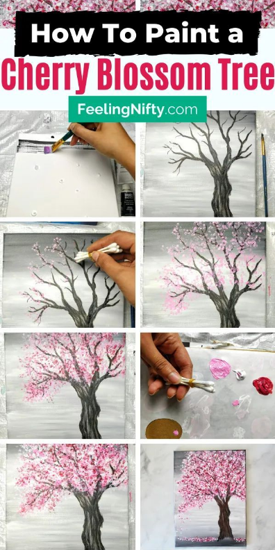 42 Portray A Cherry Blossom Tree With Acrylics And Cotton Swabs In 2020 Cherry Blossom Art Cherry Blossom Painting Blossoms Art
