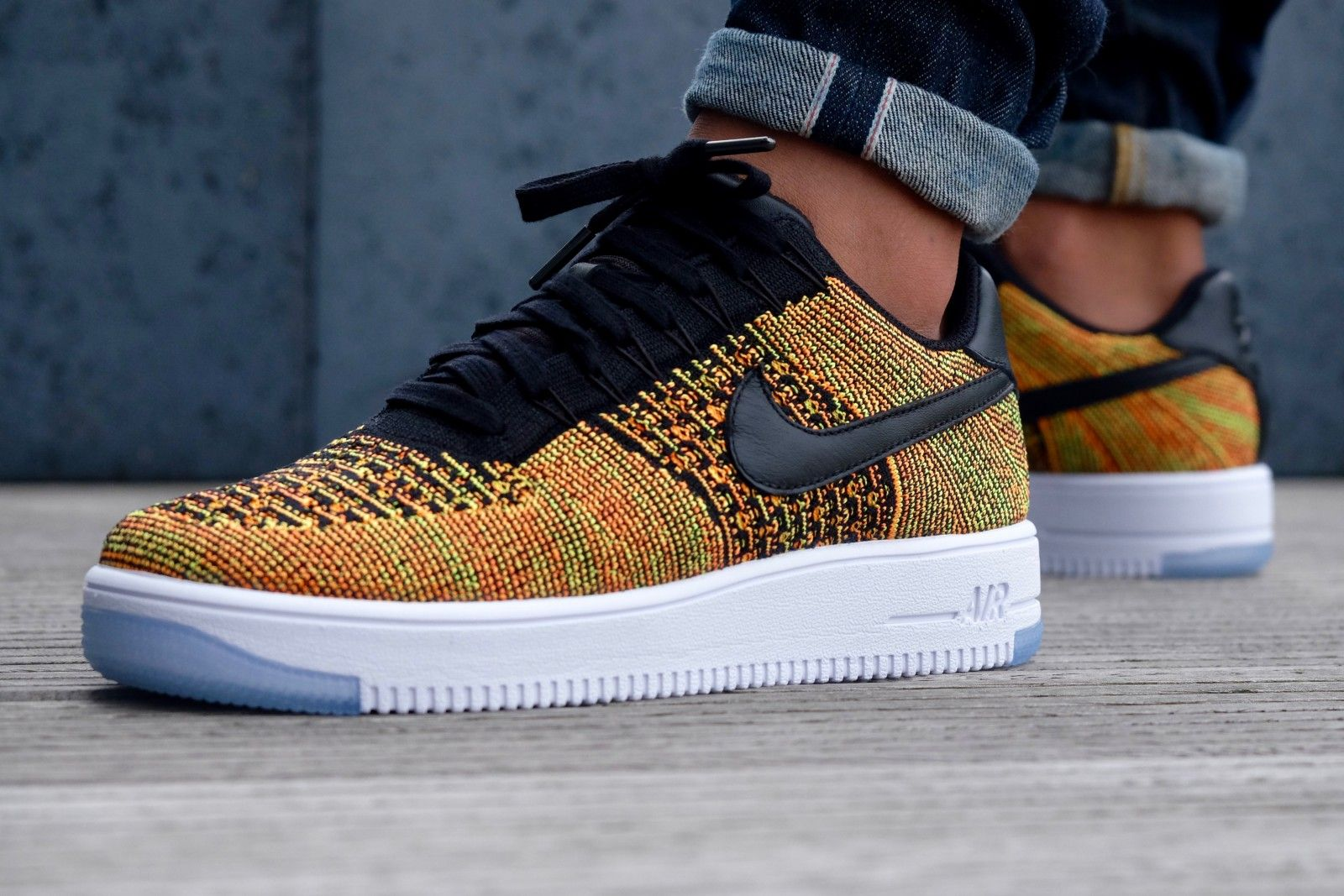 quality design d013f bd956 Nike Air Force 1 Ultra Flyknit Low Volt  Black Orange - 817419-700