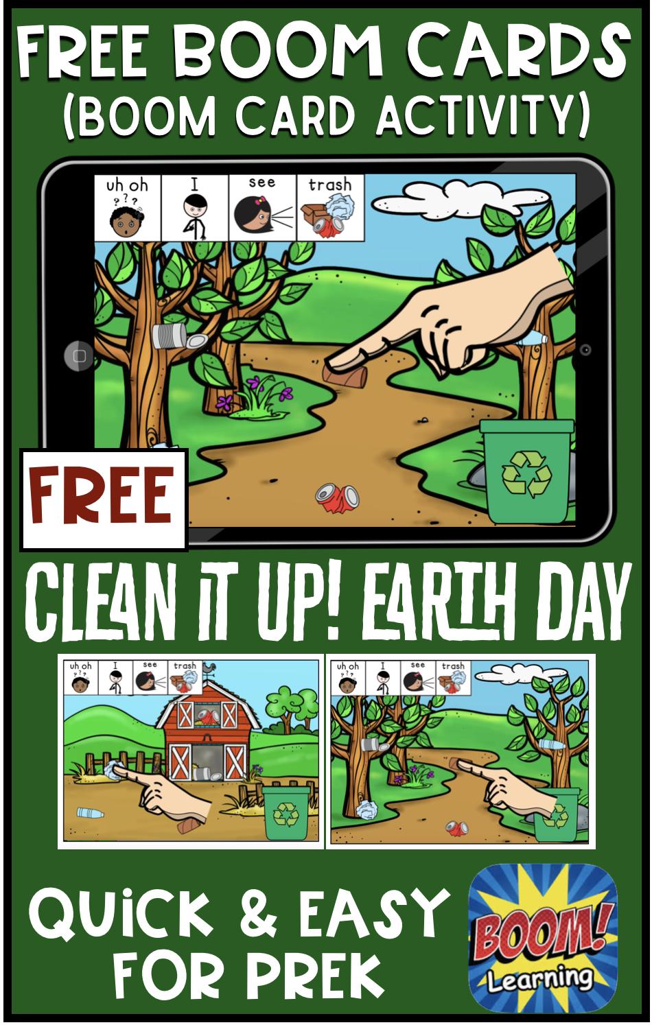 Clean it up! BOOM Card FREEBIE for Prek in 2020 Language