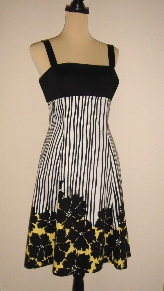 bd4c75488ed Nine West White Black Size 8 Sundress Yellow Floral Sleeveless Tie in back  NWOT…