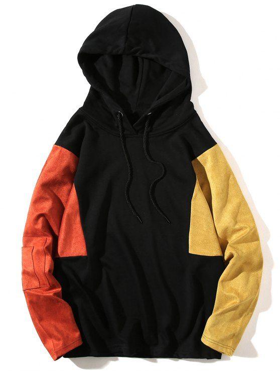 57dacf4df Up to 80% OFF! Color Block Panel Drop Shoulder Pullover Hoodie ...
