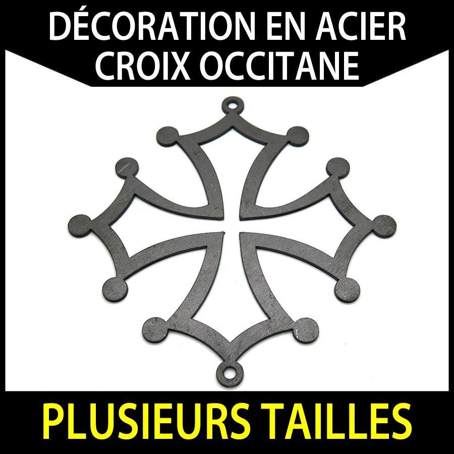 D tails sur croix occitane en acier pour d coration for Decoration fer forge pour jardin