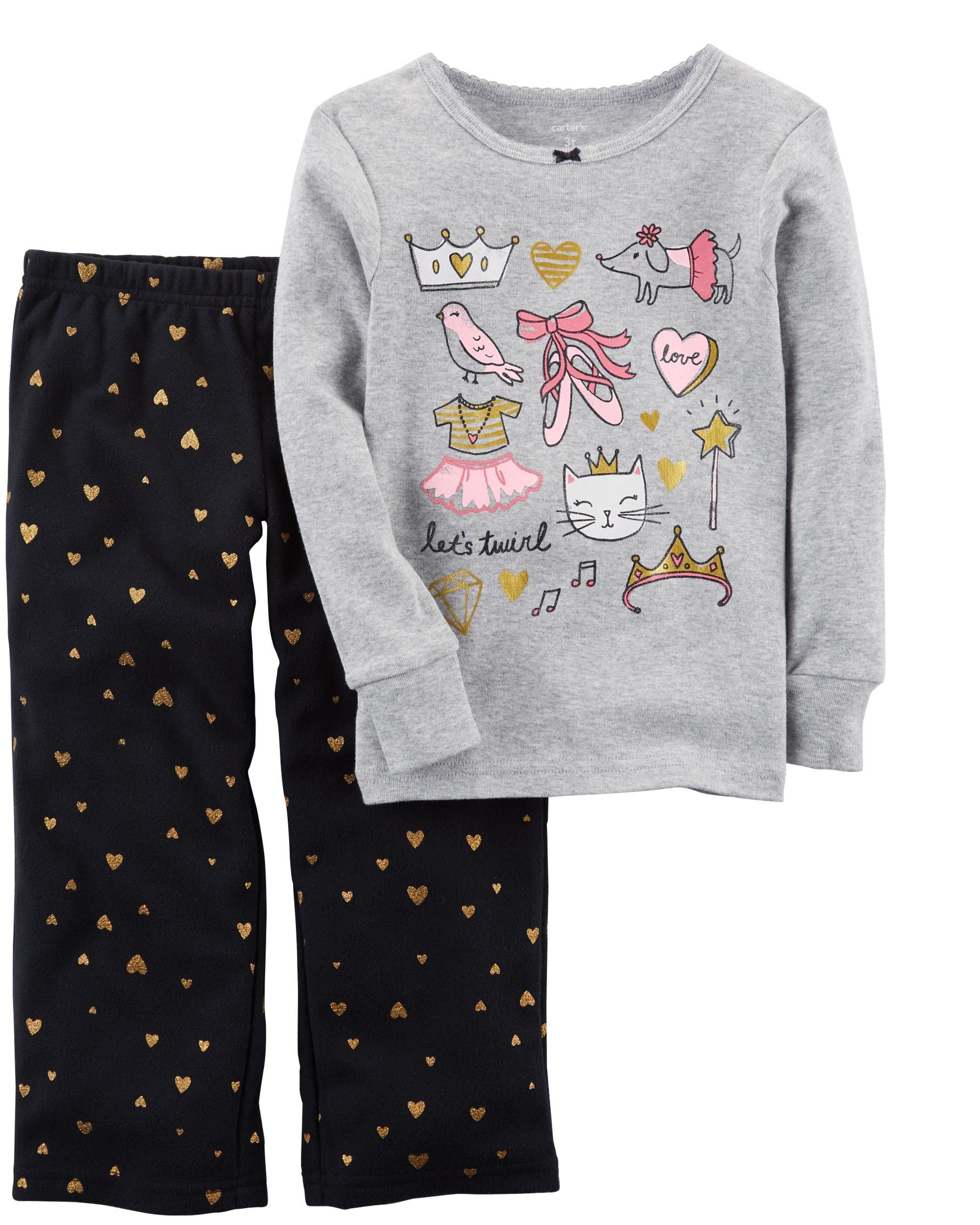 6af5e6b8e 2-Piece Glitter Ballerina Cotton   Fleece PJs