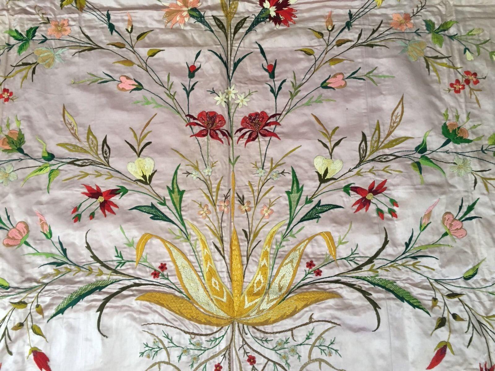 Huge Amazing Antique Armenian Silk Hand Embroidery On Silk Bed Cover 200cm Elde Nakis Kumas Nakis