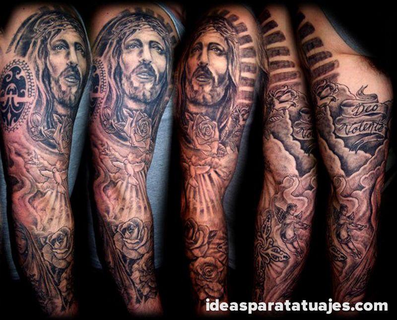 Tatuajes Sleeve Para Hombres 77 Tatuajes Tatuajes Brazo Completo Tatuajes Religiosos