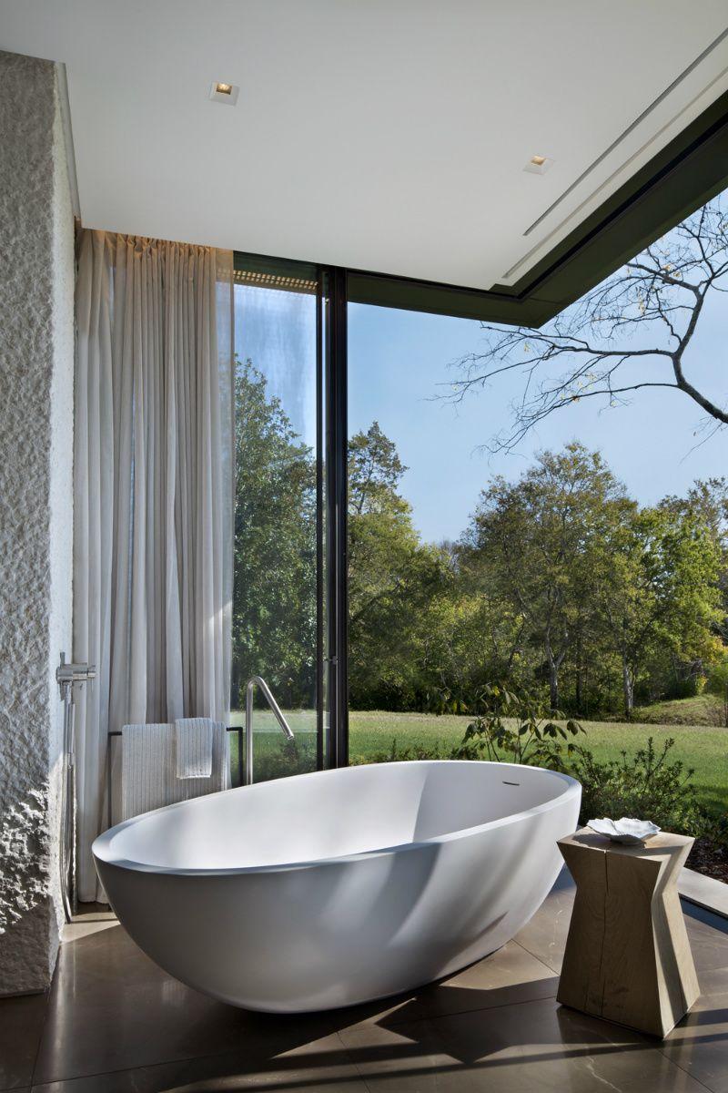 Tennessee Farmhouse Indoor/outdoor Bathroom With Soaker Tub: Meyer Davis