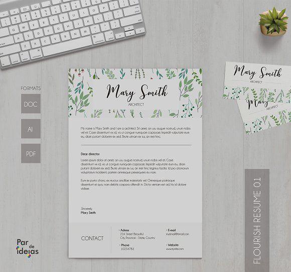 Flourish Resume 01 @creativework247 Resume Skills Pinterest