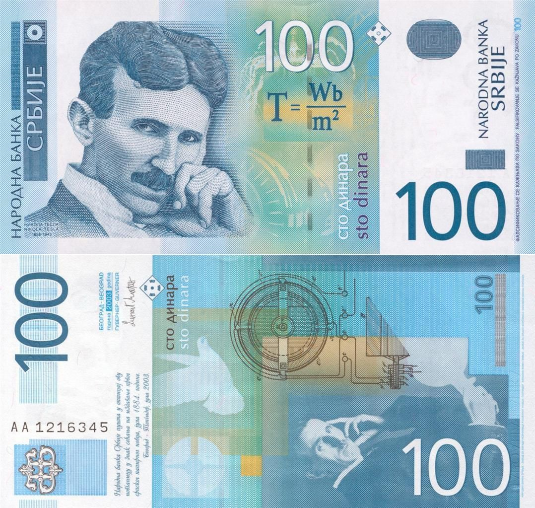 Details About Nikola Tesla 100 Serbian Dinar Glossy Poster Picture