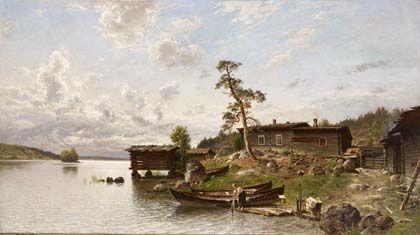Hjalmar Munsterhjelm: Aamutunnelma (Saaristomaisema), 1884. Öljy kankaalle, 115…
