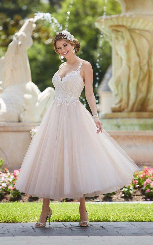 Tea length wedding dress with tulle skirt tea length for Tea length wedding dress tulle skirt