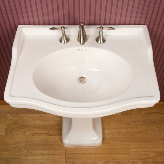 Large Cierra Pedestal Sink 8 Widespread Faucet Hole Drillings