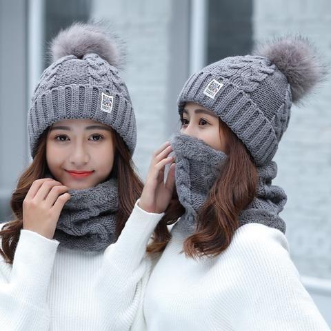dbb56864d4a Girl Warm Ski 2017 new brand Big Fur pom poms ball Knitted hats scarf hat  set Winter women Beanie Hat thick Skullies female cap