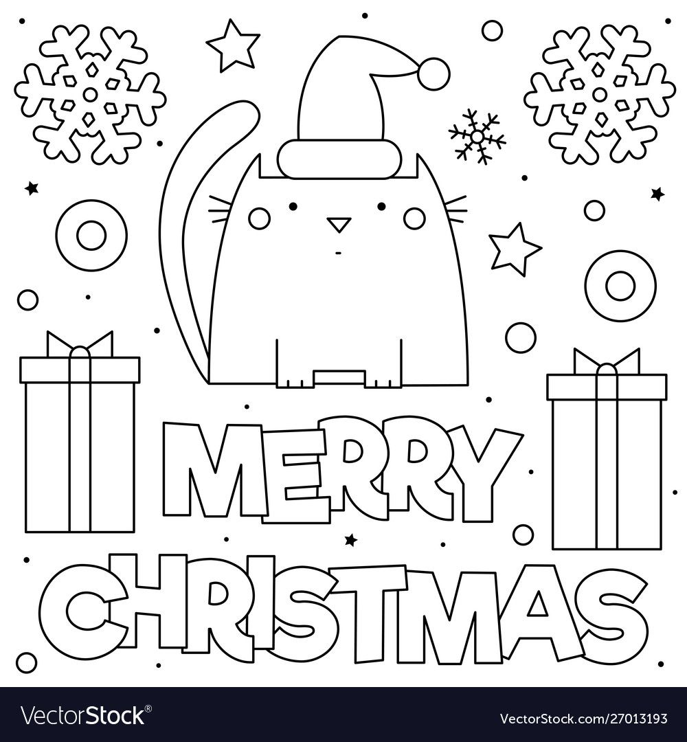 Merry Christmas Coloring Page Black And White Vector Illustration Download A Free Preview Or H Merry Christmas Coloring Pages Merry Christmas Coloring Pages