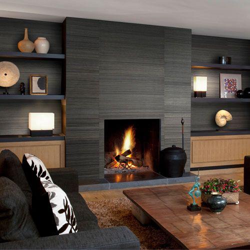 vliestapeten wohnzimmer dunkelgrau kamin braun sumatra Living - wohnzimmer design mit kamin