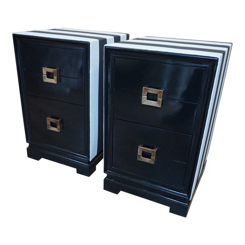 Best 1950S Asian Modern Black And White 3 Drawer Nightstands 400 x 300
