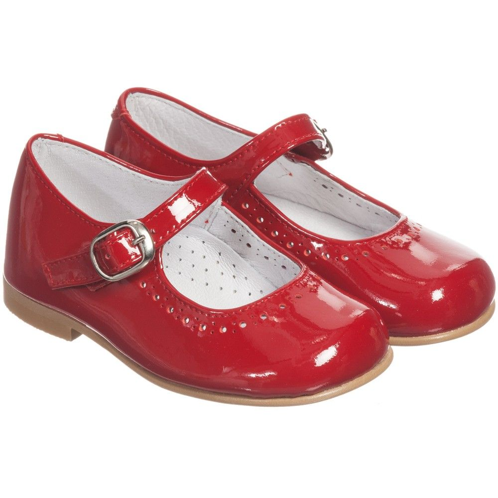 01b014216293cd Girls red patent leather shoes by Children s Classics. This classic Mary  Jane style has a leather lining with padded instep and a single buckle  fastening
