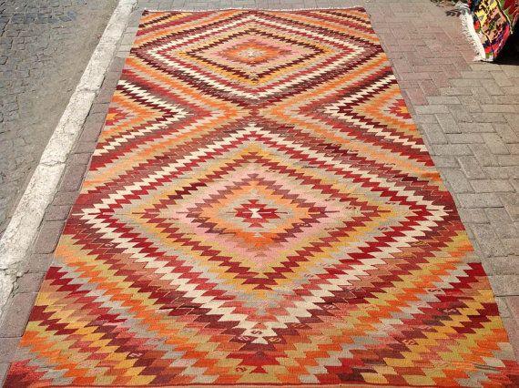 Zick Zack Muster Teppich 115 X 64 Kelim Vintage Turkische