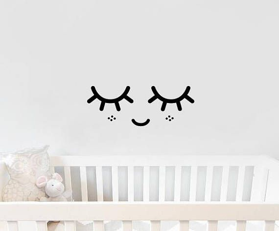 sleepy eyes decal eyelash wall decals girls nursery decal | caitlin