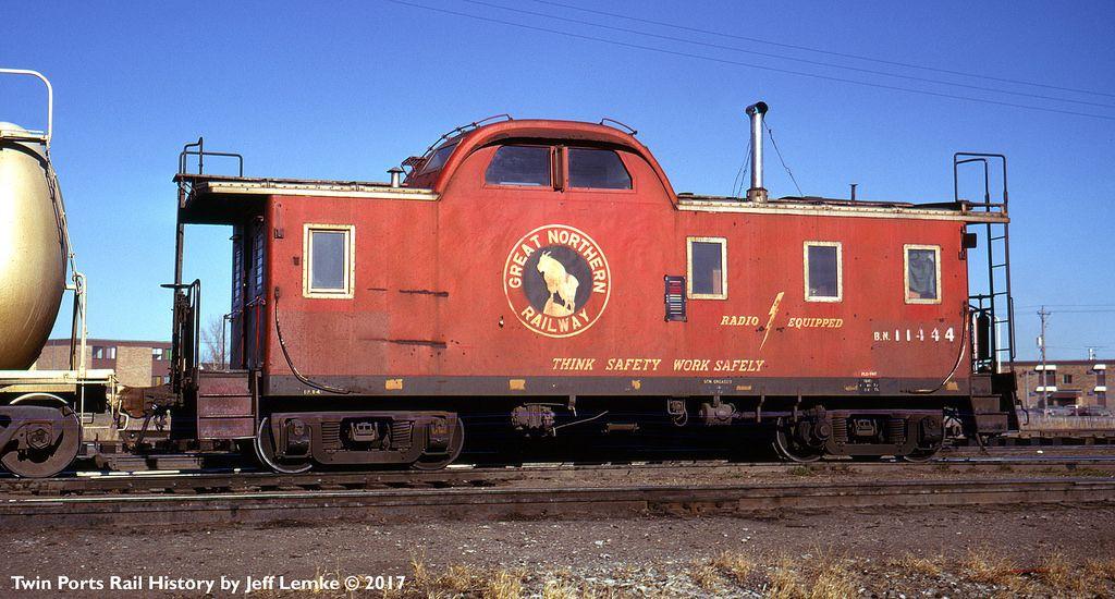Burlington northern railroad steel caboose 11444 on