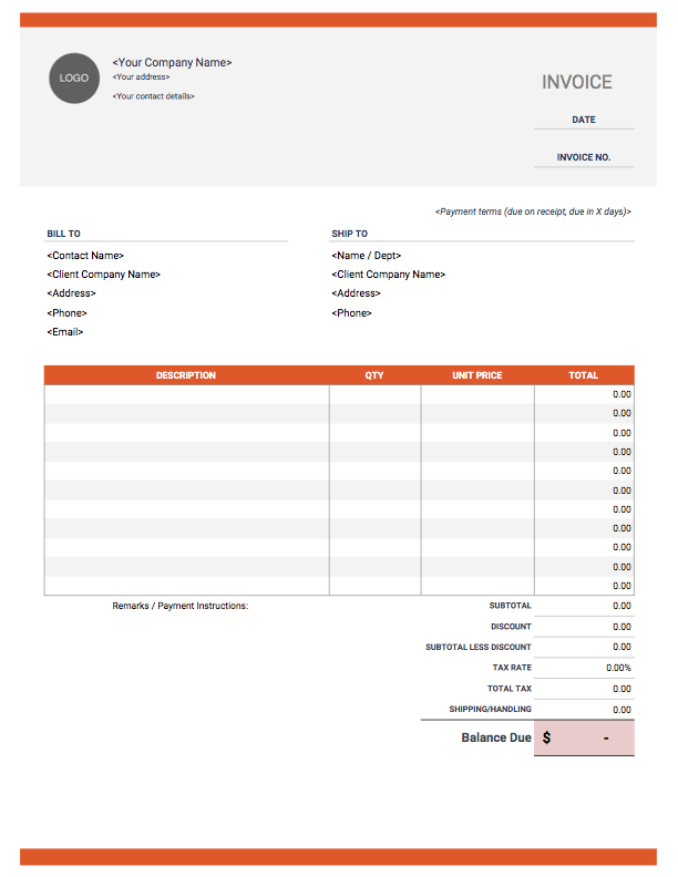 Download Top Styled Excel Invoice Template