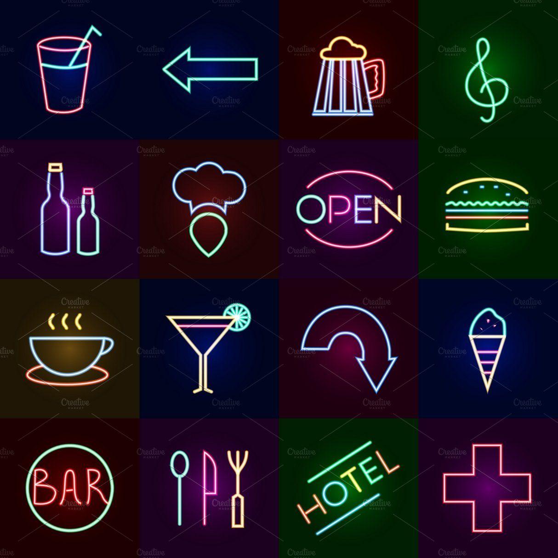 Neon icons set Icon set, Instagram icons, Neon